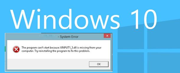 Отсутствуют dll файлы в Windows 10.