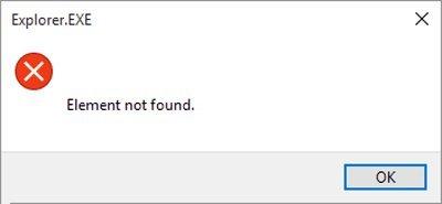 """Как исправить ошибку """"элемент не найден"""" в Windows 10."""