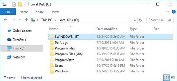 Как удалить папку $WINDOWS.~BT после обновления до Windows 10.