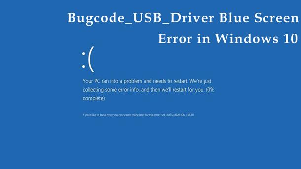 Ошибка Bugcode_USB_Driver синий экран смерти в Windows 10.