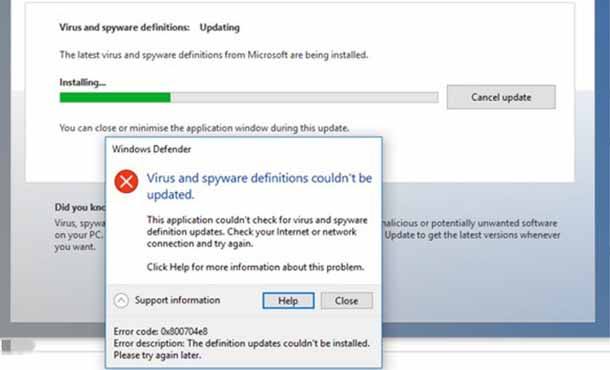 Способы устранения ошибок обновления защитника Windows 10 ошибка 0x800704e8.