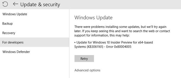 Как исправить ошибка обновления 0x80004005 в Windows 10.
