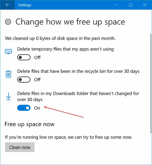 Как автоматически удалять файлы из папки загрузки в Windows 10.