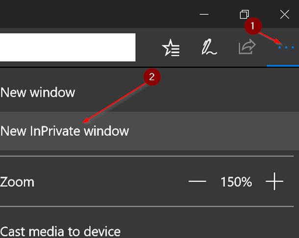 2 способа открыть EDGE в режиме Inprivate в ОС Windows 10.