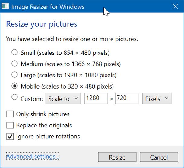 Изменение размера изображений в Windows 10 из контекстного меню.