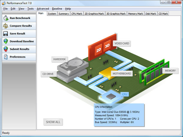 Программа тестирования системы компьютера PerformanceTest 8.0.1043.