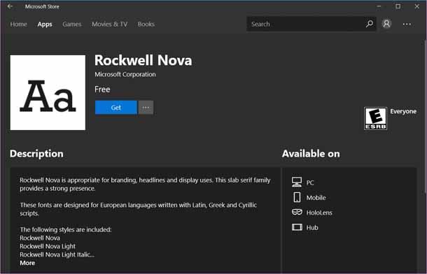 Как установить шрифты из магазина Microsoft в Windows 10.